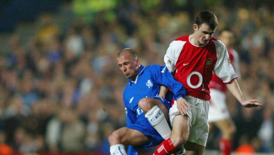 LONDON - MARCH 25: Jody Morris of Chelsea battles with Francis Jeffers of Arsenal during the FA Cup Quarter Final Replay match between Chelsea and Arsenal at Stamford Bridge in London on March 25, 2003. (Photo By Ben Radford/Getty Images)