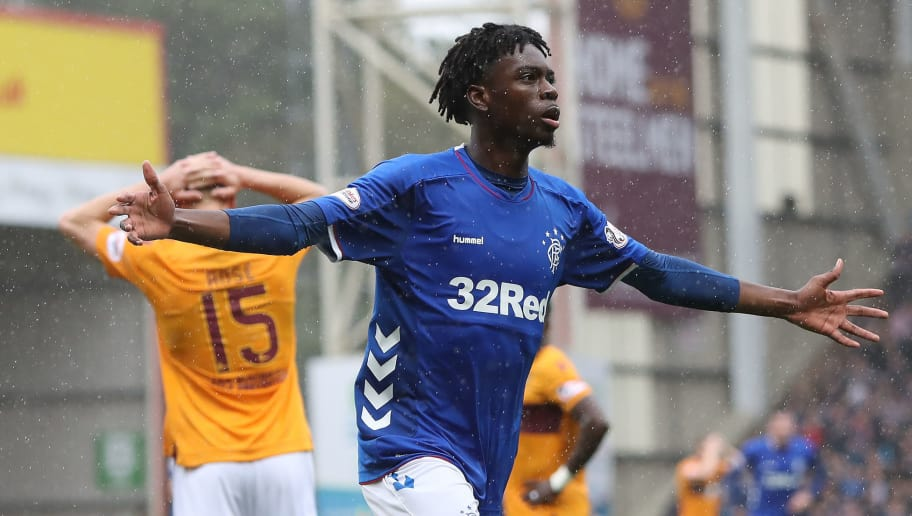 MOTHERWELL, SCOTLAND - AUGUST 26: Ovie Ejaria of Rangers celebrates after he scores his team's third goal during the Scottish Premier League match between Motherwell and Rangers at Fir Park on August 19, 2018 in Motherwell, Scotland. (Photo by Ian MacNicol/Getty Images)