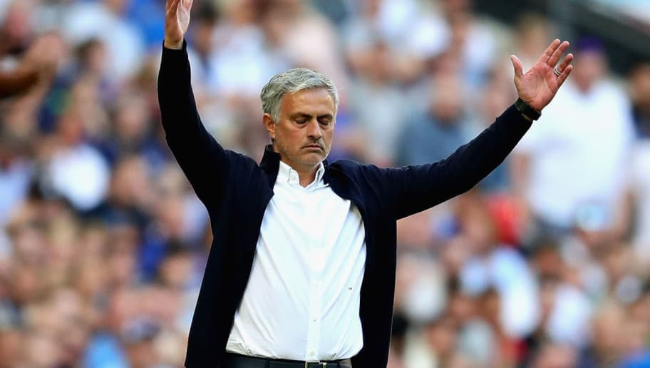 LONDON, ENGLAND - MAY 19: Manager of Manchester United Jose Mourinho gestures during the Emirates FA Cup Final between Chelsea and Manchester United at Wembley Stadium on May 19, 2018 in London, England.  (Photo by Chris Brunskill Ltd/Getty Images)