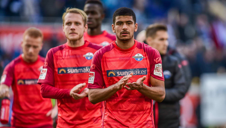 DUISBURG, GERMANY - NOVEMBER 03: Mohamed Draeger of SC Paderborn 07 feels dejected after loosing the Second Bundesliga match between MSV Duisburg and SC Paderborn 07 at Schauinsland-Reisen-Arena on November 3, 2018 in Duisburg, Germany. (Photo by TF-Images/Getty Images)