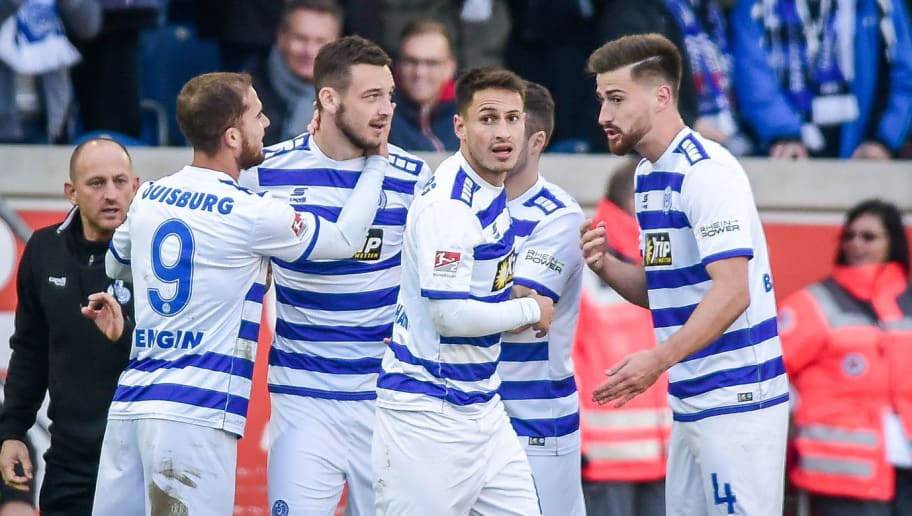 DUISBURG, GERMANY - NOVEMBER 03: Borys Tashchy of MSV Duisburg celebrates his goal with his team mates during the Second Bundesliga match between MSV Duisburg and SC Paderborn 07 at Schauinsland-Reisen-Arena on November 3, 2018 in Duisburg, Germany. (Photo by TF-Images/Getty Images)