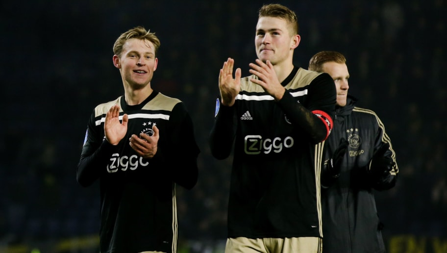 BREDA, NETHERLANDS - NOVEMBER 24: (L-R) Frenkie de Jong of Ajax, Matthijs de Ligt of Ajax during the Dutch Eredivisie  match between NAC Breda v Ajax at the Rat Verlegh Stadium on November 24, 2018 in Breda Netherlands (Photo by Erwin Spek/Soccrates/Getty Images)