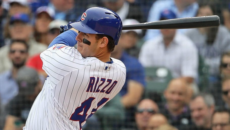 CHICAGO, IL - OCTOBER 01:  Anthony Rizzo #44 of the Chicago Cubs hits a solo home run in the 5th inning against the Milwaukee Brewer during the National League Tiebreaker Game at Wrigley Field on October 1, 2018 in Chicago, Illinois.  (Photo by Jonathan Daniel/Getty Images)
