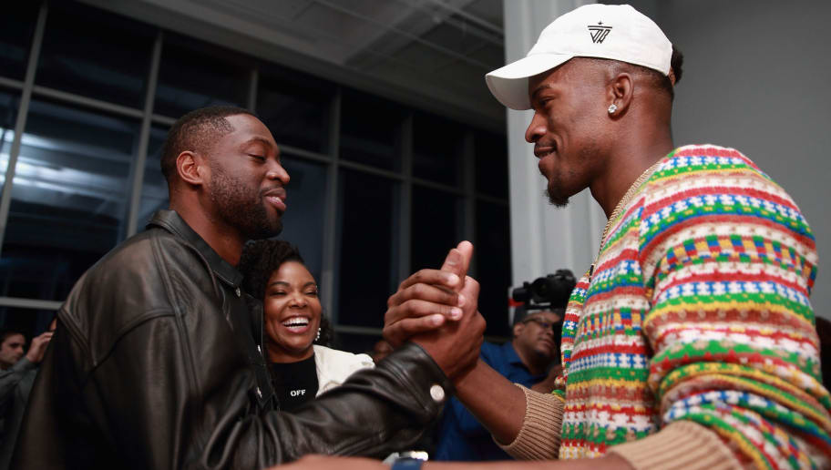 LOS ANGELES, CA - FEBRUARY 18:  Dwyane Wade and Jimmy Butler are seen at Stance Spades Tournament during NBA All-Star Weekend on February 18, 2018 in Los Angeles, California.  (Photo by Bobby Metelus/Getty Images)