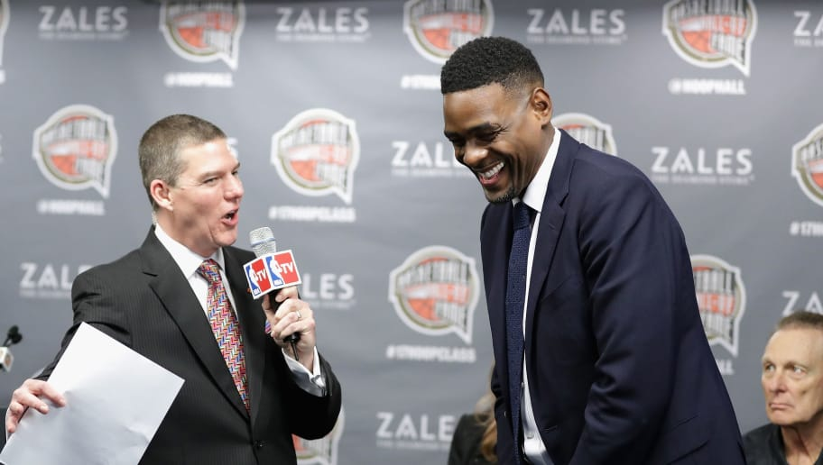 NEW ORLEANS, LA - FEBRUARY 18:  Naismith Memorial Basketball Hall of Fame finalist Chris Webber is interviewed during the 2017 Naismith Memorial Basketball Hall of Fame announcement at Smoothie King Center on February 18, 2017 in New Orleans, Louisiana.  (Photo by Ronald Martinez/Getty Images)