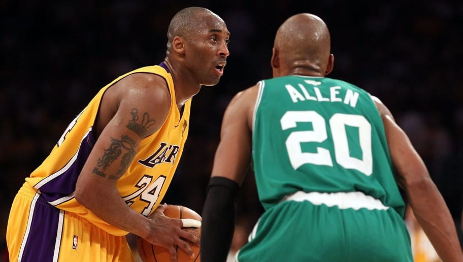 LOS ANGELES, CA - JUNE 17:  Kobe Bryant #24 of the Los Angeles Lakers looks to drive on Ray Allen #20 of the Boston Celtics in Game Seven of the 2010 NBA Finals at Staples Center on June 17, 2010 in Los Angeles, California.  NOTE TO USER: User expressly acknowledges and agrees that, by downloading and/or using this Photograph, user is consenting to the terms and conditions of the Getty Images License Agreement.  (Photo by Christian Petersen/Getty Images)