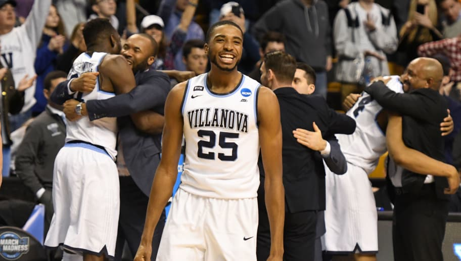 BOSTON, MA - MARCH 25:  Mikal Bridges #25 of the Villanova Wildcats celebrates a win during the 2018 NCAA Men's Basketball Tournament East Regional against the Texas Tech Red Raiders at TD Garden on March 25, 2018 in Boston, Massachusetts.  The Wildcats won 71-59.  Photo by Mitchell Layton/Getty Images) *** Local Caption *** Mikal Bridges