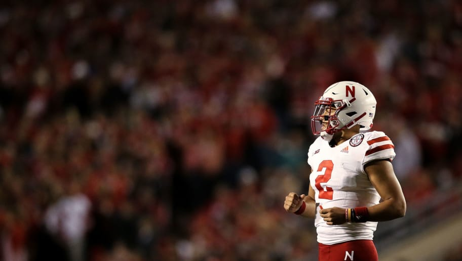 MADISON, WI - OCTOBER 06:  Adrian Martinez #2 of the Nebraska Cornhuskers jogs onto the field in the third quarter against the Wisconsin Badgers at Camp Randall Stadium on October 6, 2018 in Madison, Wisconsin. (Photo by Dylan Buell/Getty Images)