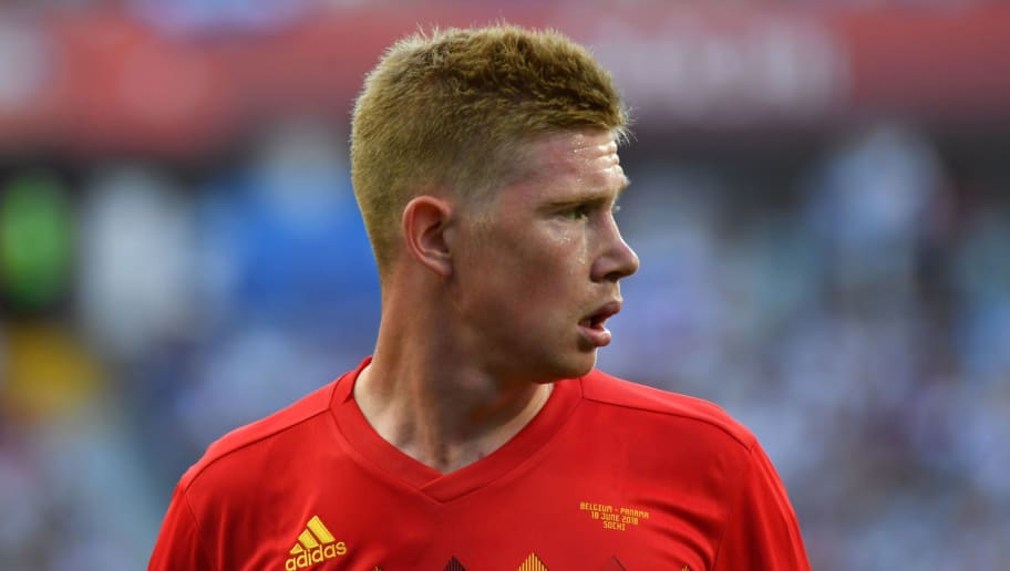 Belgium's midfielder Kevin De Bruyne reacts during the Russia 2018 World Cup Group G football match between Belgium and Panama at the Fisht Stadium in Sochi on June 18, 2018. (Photo by Nelson Almeida / AFP) / RESTRICTED TO EDITORIAL USE - NO MOBILE PUSH ALERTS/DOWNLOADS        (Photo credit should read NELSON ALMEIDA/AFP/Getty Images)