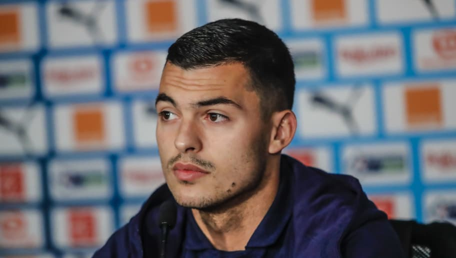 MARSEILLE, FRANCE - NOVEMBER 02:  Nemanja Radonjic  answers journalists during a press conferenceof Marseille  at Centre Robert-Louis Dreyfus on November 2, 2018 in Marseille, France.  (Photo by Guillaume Ruoppolo - OM/Getty Images)