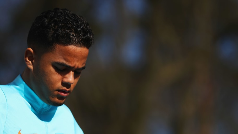 ZEIST, NETHERLANDS - MARCH 20:  Justin Kluivert of Netherlands looks on during the Netherlands Training session held at KNVB Sportcentrum on March 20, 2018 in Zeist, Netherlands.  The Netherlands will play England in a International Friendly match on March 23 in the Amsterdam ArenA.  (Photo by Dean Mouhtaropoulos/Getty Images)