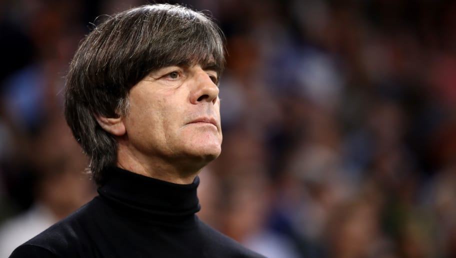AMSTERDAM, NETHERLANDS - OCTOBER 13:  Joachim Low, Manager of Germany looks on ahead of the UEFA Nations League A group one match between Netherlands and Germany at Johan Cruyff Arena on October 13, 2018 in Amsterdam, Netherlands.  (Photo by Alex Grimm/Bongarts/Getty Images)