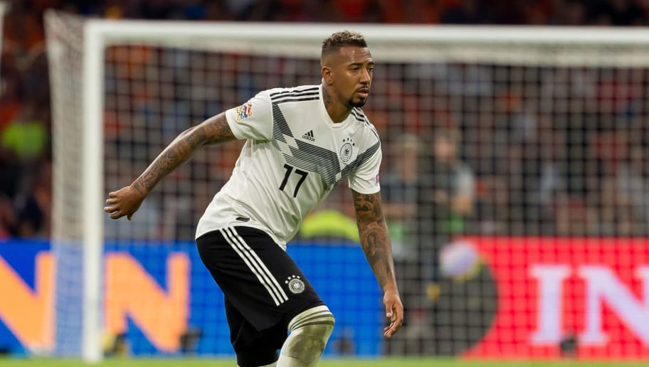 AMSTERDAM, NETHERLANDS - OCTOBER 13: Jerome Boateng of Germany controls the ball during the UEFA Nations League A group one match between Netherlands and Germany at Johan Cruyff Arena on October 13, 2018 in Amsterdam, Netherlands. (Photo by TF-Images/Getty Images)