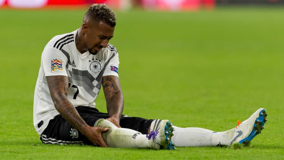 AMSTERDAM, NETHERLANDS - OCTOBER 13: Jerome Boateng of Germany on the ground during the UEFA Nations League A group one match between Netherlands and Germany at Johan Cruyff Arena on October 13, 2018 in Amsterdam, Netherlands. (Photo by TF-Images/Getty Images)