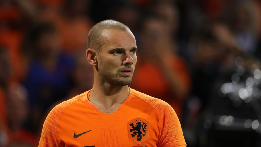 AMSTERDAM, NETHERLANDS - SEPTEMBER 06: Wesley Sneijder of The Netherlands / Holland during the International Friendly match between Netherlands and Peru on September 6, 2018 in Amsterdam, Netherlands. (Photo by Matthew Ashton - AMA/Getty Images)