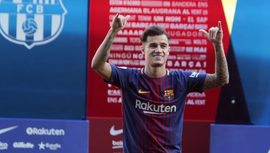 BARCELONA, SPAIN - JANUARY 08:  New Barcelona signing Philippe Coutinho is unveiled at the Camp Nou on January 8, 2018 in Barcelona, Spain. The Brazilian player signed from Liverpool, has agreed a deal with the Catalan club until 2023 season.  (Photo by Miquel Benitez/Getty Images)
