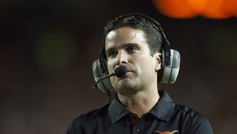 AUSTIN, TX - SEPTEMBER 08:  Defensive coordinator Manny Diaz of the University of Texas Longhorns looks on as his team plays against the University of New Mexico Lobos on September 8, 2012 at Darrell K Royal-Texas Memorial Stadium in Austin, Texas.  (Photo by Cooper Neill/Getty Images)