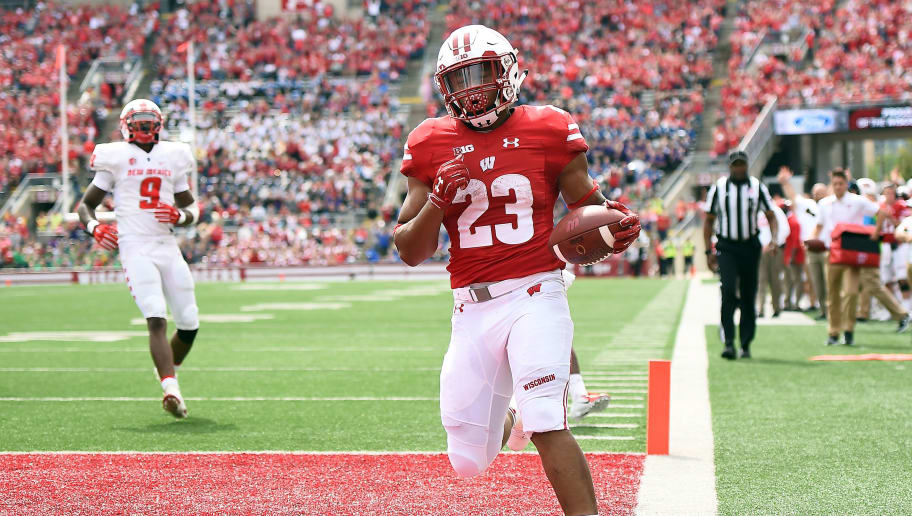 MADISON, WI - SEPTEMBER 08:  Jonathan Taylor #23 of the Wisconsin Badgers rushes for a touchdown during a game against the New Mexico Lobos at Camp Randall Stadium on September 8, 2018 in Madison, Wisconsin.  Wisconsin defeated New Mexico 45-14.  (Photo by Stacy Revere/Getty Images)