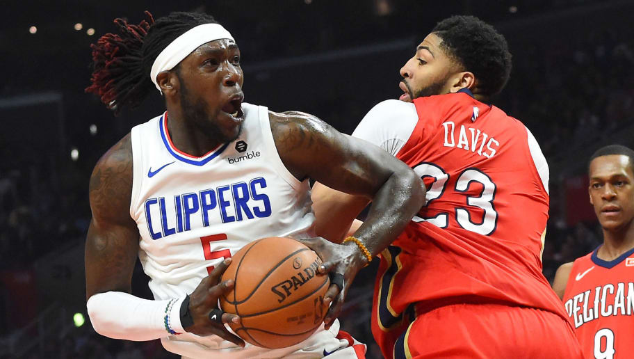 LOS ANGELES, CA - APRIL 09:  Montrezl Harrell #5 of the Los Angeles Clippers looks to shoot against Anthony Davis #23 of the New Orleans Pelicans in the first half of the game at Staples Center on April 9, 2018 in Los Angeles, California.  NOTE TO USER: User expressly acknowledges and agrees that, by downloading and or using this photograph, User is consenting to the terms and conditions of the Getty Images License Agreement.  (Photo by Jayne Kamin-Oncea/Getty Images)