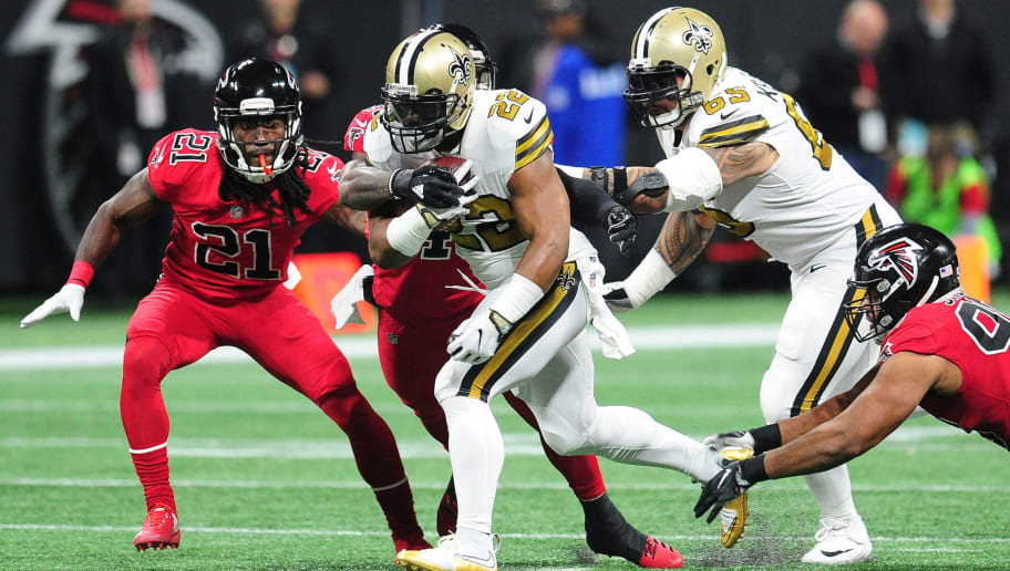 ATLANTA, GA - DECEMBER 7: Mark Ingram #22 of the New Orleans Saints carries the ball against the Atlanta Falcons at Mercedes-Benz Stadium on December 7, 2017 in Atlanta, Georgia. (Photo by Scott Cunningham/Getty Images)