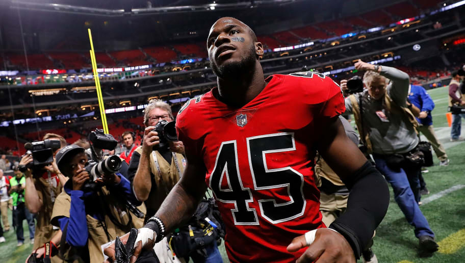 ATLANTA, GA - DECEMBER 07:  Deion Jones #45 of the Atlanta Falcons reacts after their 20-17 win over the New Orleans Saints at Mercedes-Benz Stadium on December 7, 2017 in Atlanta, Georgia.  (Photo by Kevin C. Cox/Getty Images)