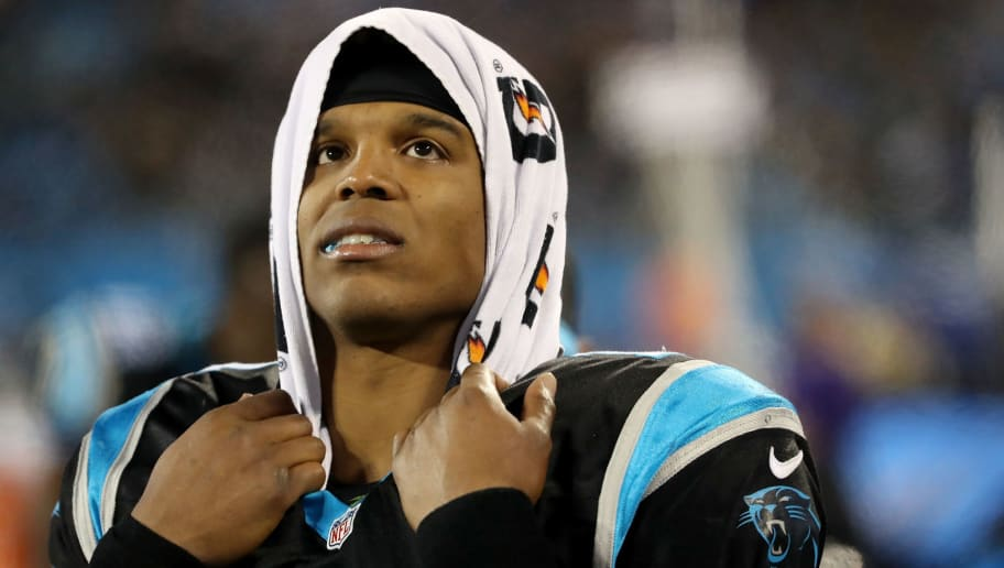 CHARLOTTE, NC - DECEMBER 17:  Cam Newton #1 of the Carolina Panthers looks on against the New Orleans Saints in the third quarter during their game at Bank of America Stadium on December 17, 2018 in Charlotte, North Carolina.  (Photo by Streeter Lecka/Getty Images)