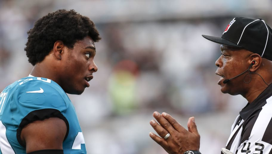 JACKSONVILLE, FL - AUGUST 9: Cornerback Jalen Ramsey #20 of the Jacksonville Jaguars talks with Field Judge Terry Brown about a play during a preseason game against the New Orleans Saints at TIAA Bank Field on August 9, 2018 in Jacksonville, Florida. The Saints defeated the Jaguars 24 to 20. (Photo by Don Juan Moore/Getty Images)