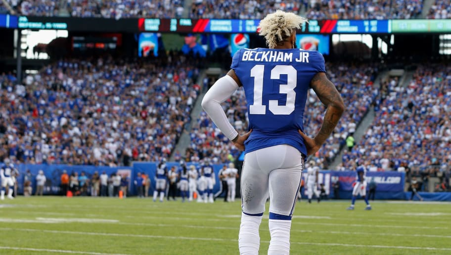EAST RUTHERFORD, NJ - SEPTEMBER 30:  (NEW YORK DAILIES OUT)   Odell Beckham #13 of the New York Giants in action against the New Orleans Saints on September 30, 2018 at MetLife Stadium in East Rutherford, New Jersey. The Saints defeated the Giants 33-18.  (Photo by Jim McIsaac/Getty Images)