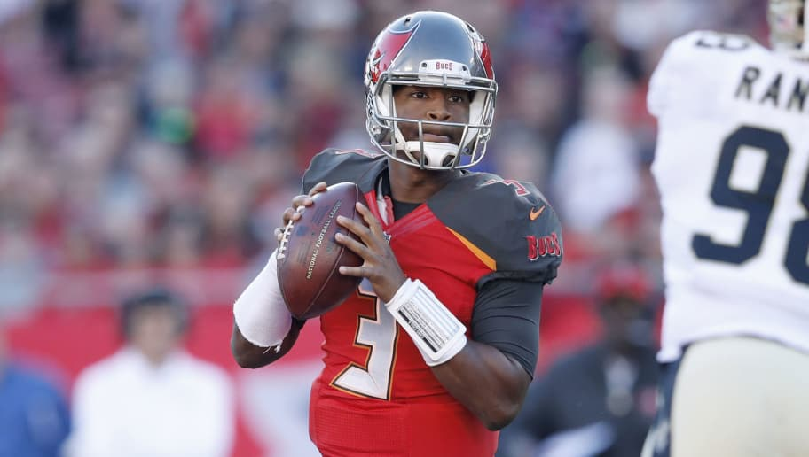 TAMPA, FL - DECEMBER 31: Jameis Winston #3 of the Tampa Bay Buccaneers looks to pass during a game against the New Orleans Saints at Raymond James Stadium on December 31, 2017 in Tampa, Florida. The Buccaneers won 31-24. (Photo by Joe Robbins/Getty Images)