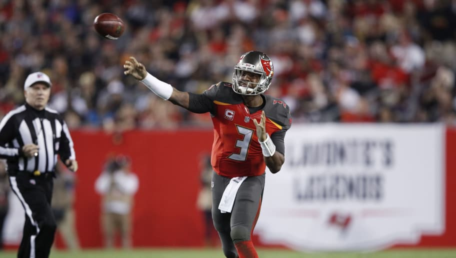 TAMPA, FL - DECEMBER 31: Jameis Winston #3 of the Tampa Bay Buccaneers throws a pass during a game against the New Orleans Saints at Raymond James Stadium on December 31, 2017 in Tampa, Florida. The Buccaneers won 31-24. (Photo by Joe Robbins/Getty Images)