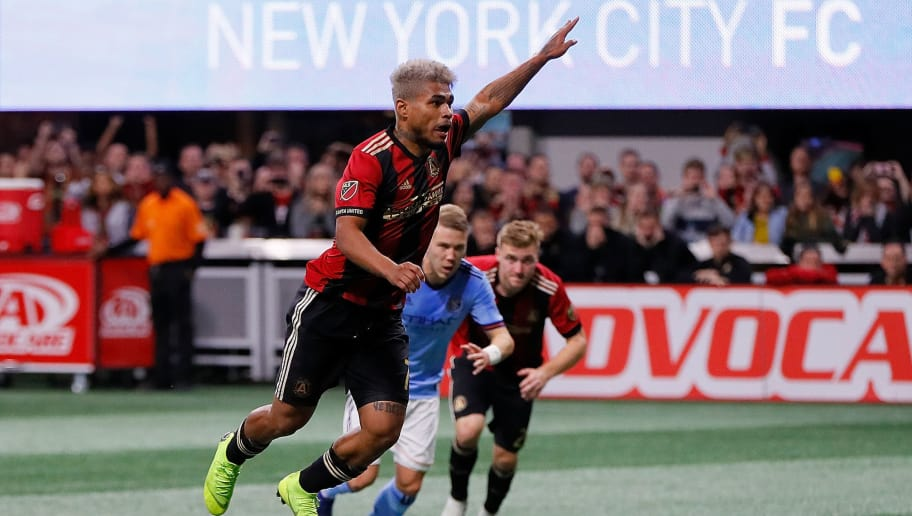 ATLANTA, GA - NOVEMBER 11:  Josef Martinez #7 of Atlanta United scores the first goal on a penalty kick against the New York City during the Eastern Conference Semifinals between New York City FC and Atlanta United FC at Mercedes-Benz Stadium on November 11, 2018 in Atlanta, Georgia.  (Photo by Kevin C. Cox/Getty Images)