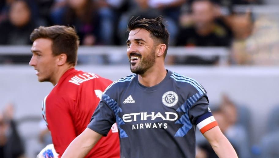 LOS ANGELES, CA - MAY 13:  David Villa #7 of New York City reacts to a missed chance in front of Tyler Miller #1 of Los Angeles FC during the first half at Banc of California Stadium on May 13, 2018 in Los Angeles, California.  The game ended 2-2.   (Photo by Harry How/Getty Images)