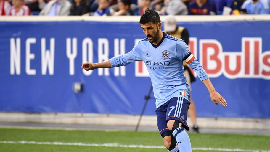 HARRISON, NJ - JUNE 06:  David Villa #7 of New York City FC controls the ball during the fourth round match of the 2018 Lamar Hunt U.S. Open Cup against New York Red Bulls at Red Bull Arena on June 6, 2018 in Harrison, New Jersey. (Photo by Mark Brown/Getty Images)