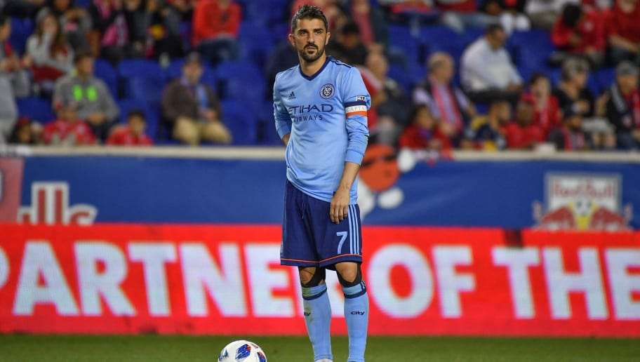 HARRISON, NJ - JUNE 06:  David Villa #7 of New York City FC looks on during the fourth round match of the 2018 Lamar Hunt U.S. Open Cup against New York Red Bulls at Red Bull Arena on June 6, 2018 in Harrison, New Jersey. (Photo by Mark Brown/Getty Images)