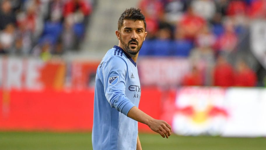 HARRISON, NJ - JUNE 06: David Villa #7 of New York City FC in action against the New York Red Bulls in the first half during the fourth round match of the 2018 Lamar Hunt U.S. Open Cup at Red Bull Arena on June 6, 2018 in Harrison, New Jersey. (Photo by Mark Brown/Getty Images)