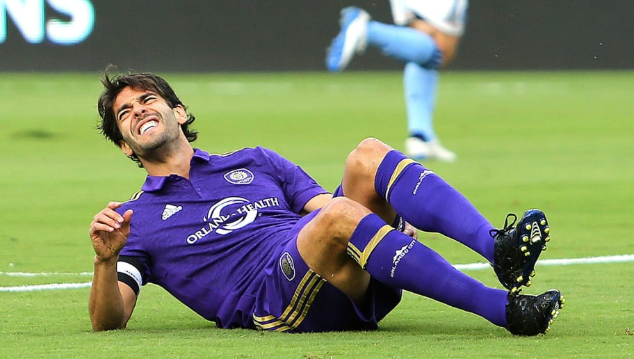 ORLANDO, FL - MARCH 05:  Kaka #10 of Orlando City SC goes down with a leg injury during a MLS soccer match between New York City FC and Orlando City SC at the Orlando City Stadium on March 5, 2017 in Orlando, Florida. (Photo by Alex Menendez/Getty Images)