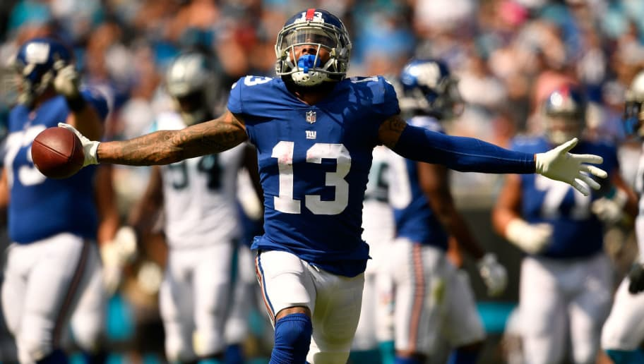 CHARLOTTE, NC - OCTOBER 07:  Odell Beckham #13 of the New York Giants against the Carolina Panthers during their game at Bank of America Stadium on October 7, 2018 in Charlotte, North Carolina. The Panthers won 33-31.  (Photo by Grant Halverson/Getty Images)