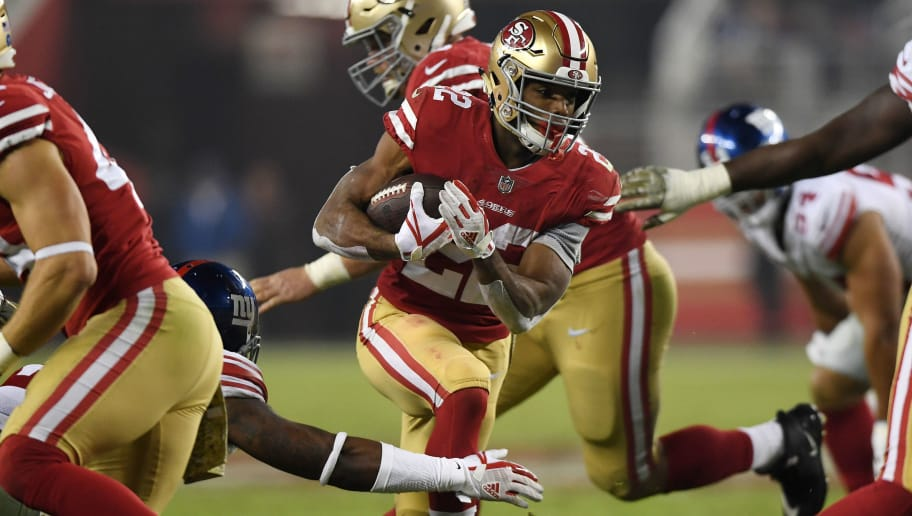 SANTA CLARA, CA - NOVEMBER 12: Matt Breida #22 of the San Francisco 49ers rushes with the ball against the New York Giants during their NFL game at Levi's Stadium on November 12, 2018 in Santa Clara, California. (Photo by Thearon W. Henderson/Getty Images)