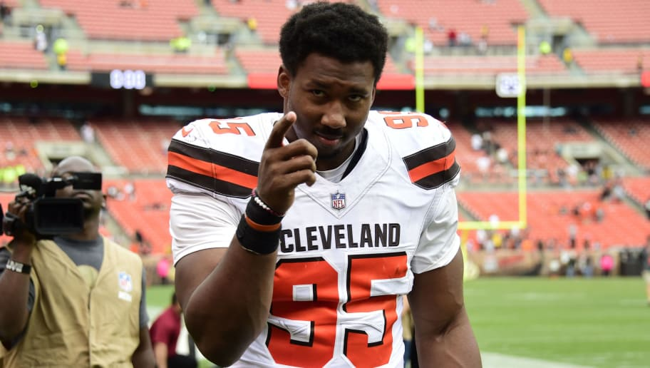 CLEVELAND, OH - OCTOBER 08: Myles Garrett #95 of the Cleveland Browns walks off the field at the end of the game against the New York Jets at FirstEnergy Stadium on October 8, 2017 in Cleveland, Ohio. (Photo by Jason Miller/Getty Images)