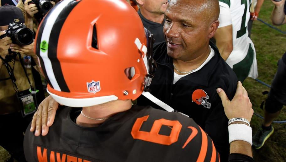 CLEVELAND, OH - SEPTEMBER 20:  Head coach Hue Jackson of the Cleveland Browns celebrates with Baker Mayfield #6 after a 21-17 win over the New York Jets at FirstEnergy Stadium on September 20, 2018 in Cleveland, Ohio. (Photo by Jason Miller/Getty Images)