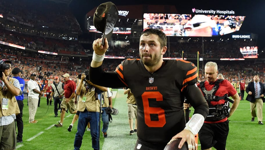 CLEVELAND, OH - SEPTEMBER 20:  Baker Mayfield #6 of the Cleveland Browns runs off the field after a 21-17 win over the New York Jets at FirstEnergy Stadium on September 20, 2018 in Cleveland, Ohio. (Photo by Jason Miller/Getty Images)