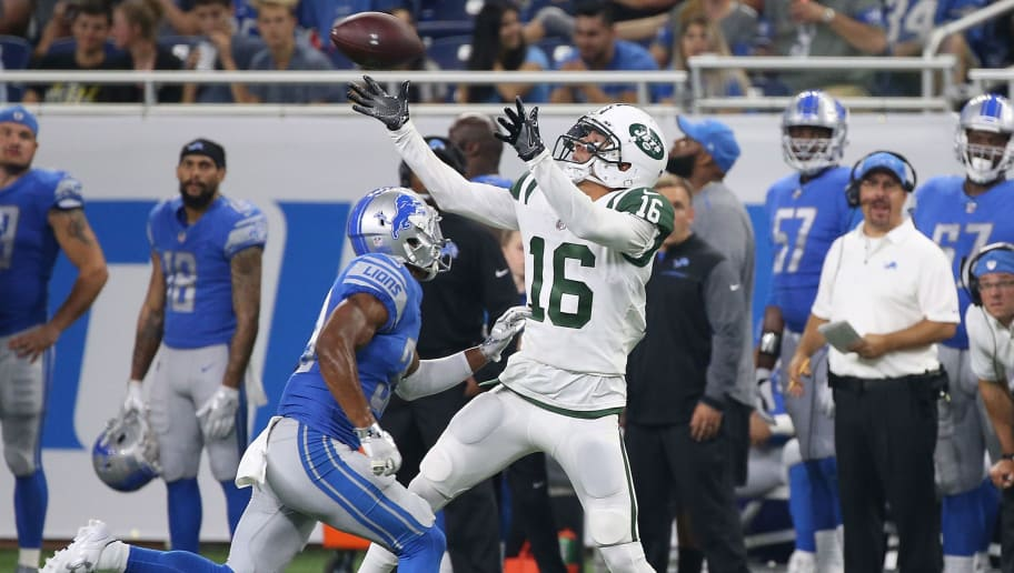 DETROIT, MI - AUGUST 19: Myles White #16 of the New York Jets makes a fourth quarter catch as Jamal Agnew #39 of the Detroit Lions defends during the fourth quarter of the preseason game on August 19, 2017 at Ford Field in Detroit, Michigan. The Lions defeated the Jest 16-6. (Photo by Leon Halip/Getty Images)