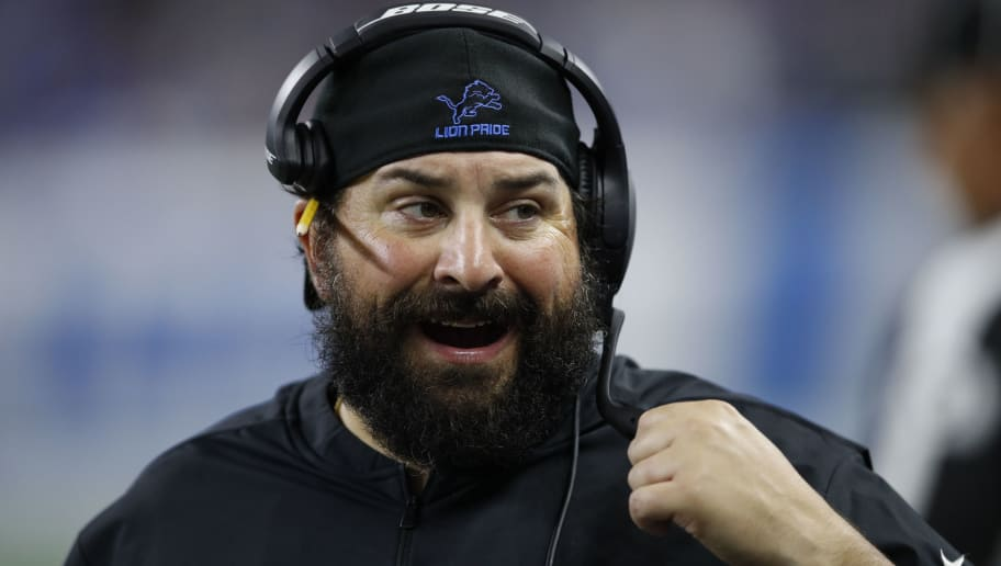 DETROIT, MI - SEPTEMBER 10: Head coach Matt Patricia of the Detroit Lions reacts to a play in the second half against the New York Jets at Ford Field on September 10, 2018 in Detroit, Michigan. (Photo by Joe Robbins/Getty Images)