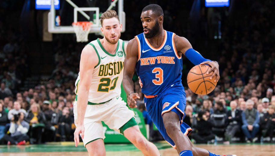 BOSTON, MA - NOVEMBER 21: Tim Hardaway Jr. #3 of the New York Knicks dribbles past Gordon Hayward #20 of the Boston Celtics during a game at TD Garden on November 21, 2018 in Boston, Massachusetts.  NOTE TO USER: User expressly acknowledges and agrees that, by downloading and or using this photograph, User is consenting to the terms and conditions of the Getty Images License Agreement. (Photo by Kathryn Riley/Getty Images)