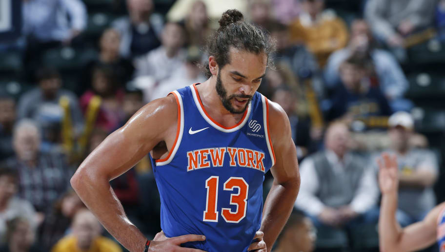 INDIANAPOLIS, IN - DECEMBER 04: Joakim Noah #13 of the New York Knicks reacts in the second half of a game against the Indiana Pacers at Bankers Life Fieldhouse on December 4, 2017 in Indianapolis, Indiana. The Pacers won 115-97. NOTE TO USER: User expressly acknowledges and agrees that, by downloading and or using the photograph, User is consenting to the terms and conditions of the Getty Images License Agreement. (Photo by Joe Robbins/Getty Images)