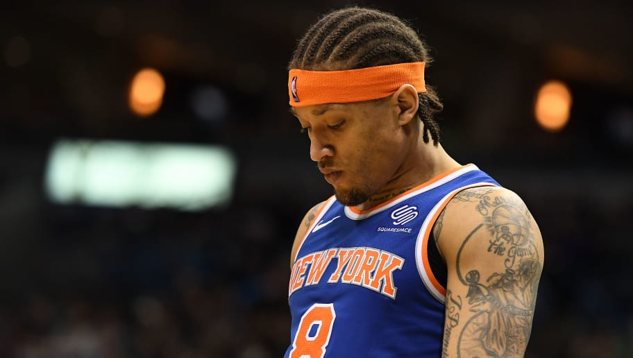 MILWAUKEE, WI - MARCH 09:  Michael Beasley #8 of the New York Knicks walks backcourt during a game during a game against the Milwaukee Bucks at the Bradley Center on March 9, 2018 in Milwaukee, Wisconsin.  NOTE TO USER: User expressly acknowledges and agrees that, by downloading and or using this photograph, User is consenting to the terms and conditions of the Getty Images License Agreement.  (Photo by Stacy Revere/Getty Images)