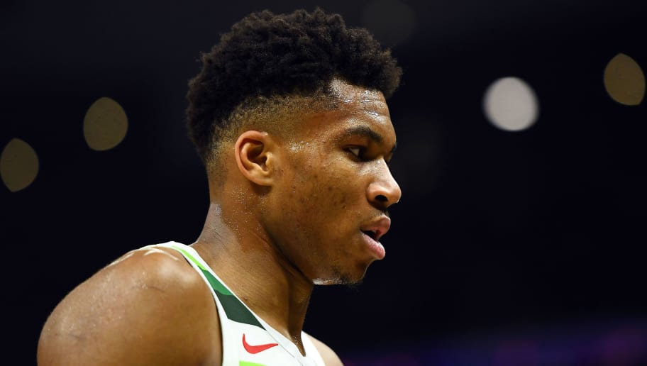 MILWAUKEE, WISCONSIN - DECEMBER 27:  Giannis Antetokounmpo #34 of the Milwaukee Bucks walks to the bench during a game against the New York Knicks at Fiserv Forum on December 27, 2018 in Milwaukee, Wisconsin. NOTE TO USER: User expressly acknowledges and agrees that, by downloading and or using this photograph, User is consenting to the terms and conditions of the Getty Images License Agreement. (Photo by Stacy Revere/Getty Images)