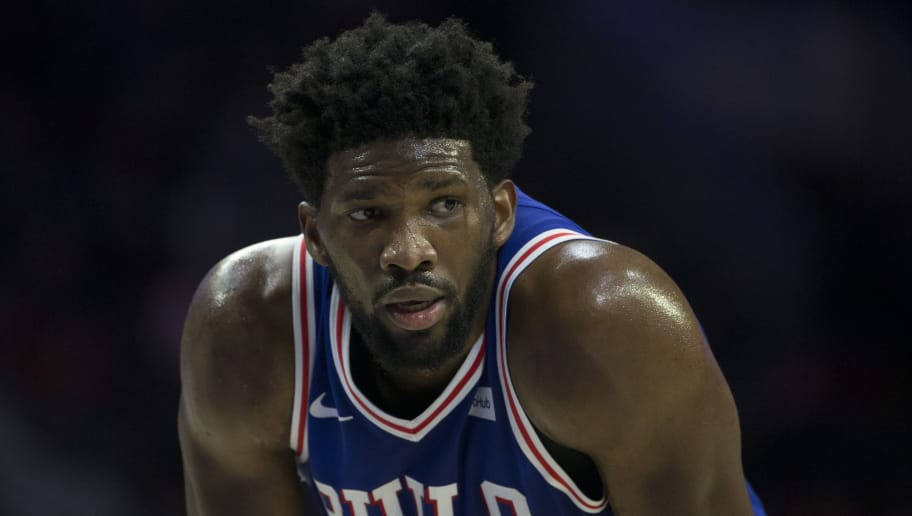 PHILADELPHIA, PA - NOVEMBER 28: Joel Embiid #21 of the Philadelphia 76ers looks on against the New York Knicks at the Wells Fargo Center on November 28, 2018 in Philadelphia, Pennsylvania. NOTE TO USER: User expressly acknowledges and agrees that, by downloading and or using this photograph, User is consenting to the terms and conditions of the Getty Images License Agreement. (Photo by Mitchell Leff/Getty Images)