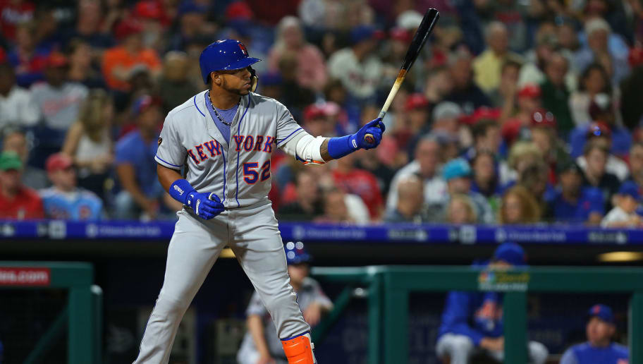 PHILADELPHIA, PA - MAY 11: Yoenis Cespedes #52 of the New York Mets in action against the Philadelphia Phillies  during a game at Citizens Bank Park on May 11, 2018 in Philadelphia, Pennsylvania. The Mets defeated the Phillies 3-1. (Photo by Rich Schultz/Getty Images)