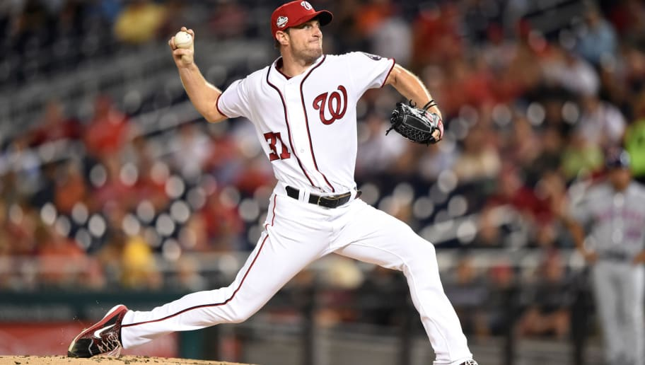 WASHINGTON, DC - SEPTEMBER 20:  Max Scherzer #31 of the Washington Nationals pitches during a baseball game against the New York Mets at Nationals Park on September 20, 2018 in Washington, DC.  (Photo by Mitchell Layton/Getty Images)